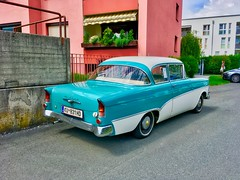 Classic vintage Opel Rekord in Kufstein, Tyrol, Austria (UweBKK (α 77 on )) Tags: österreich classic vintage car oldtimer opel rekord mint white limousine kufstein tyrol tirol austria europe europa iphone