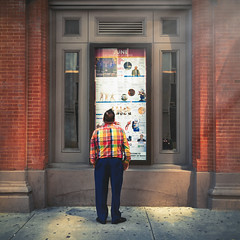 Plaid (Darren LoPrinzi) Tags: 5d canon5d philadelphia philly canon miii city urban centercity man plaid street streetphotography square squareformat poster ad advert advertisement sign signage plaidshirt candid brick brickwall window windowsign windowsignage light shadows
