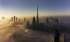 SURREAL (Dany Eid) Tags: dubai fog dubaifog skyscapers burjkhalifa travel nature aerial high longexposure uae emirates