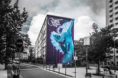 LE COMBATTANT (fabecollage) Tags: kalouf lyon france streetart mural street color sprayart graffiti la croix rousse fabecollage blast cityscape