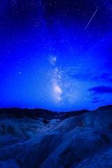 Death Valley - Zabriskie Point - Milky Way and Shooting Star at Blue Hour Over Zabriskie Point (ImNotDedYet) Tags: milkyway zabriskiepoint deathvalley deathvslleynationalpark sony sonya7riii stars night bluehour