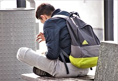 IMG_1542 (Skinny Guy Lover) Tags: outdoor people candid guy man male dude adidas sitting sit seated backpack backpacker smartphonezombie winterjacket adidasbackpack