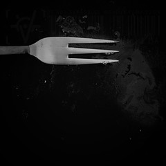 Negative Space: #4 (DrCuervo) Tags: negativespace simplybwapp series 30days iphone blackandwhite monochrome plate fork square 4