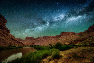 The Milky Way over the Colorado River at Middle Drinks Canyon near Moab, Utah