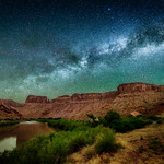 The Milky Way over the Colorado River at Middle Drinks Canyon near Moab, Utah thumbnail