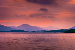 Last Light on Loch Lomond (scamart1st) Tags: lomond hills mountains colours sun clouds sky fire uk scotland serene calm warm water loch trees shore