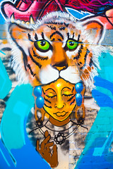 She Loves Me, She Loves Me Not (Thomas Hawk) Tags: california chinatown sanfrancisco usa unitedstates unitedstatesofamerica graffiti tiger fav10