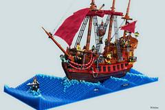 Turbulent sea (Kloou.) Tags: lego kloou saignante pirate moc bateau ship boat skull sails gun cannon navy sea pirates mer lasaignante caraibes
