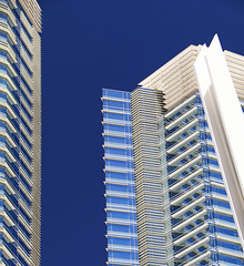Plentiful Blue (studioferullo) Tags: architecture art beauty bright building colorful colourful colors colours contrast design detail downtown edge light minimalism outdoor outside perspective pattern pretty sky study sunlight sunshine street texture tone world citycenter lasvegas nevada skyscraper blue white window glass lines reflection