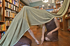 Sarah and Elizabeth (BrendonQ) Tags: portland pdx oregon dance dancer dancing book bookstore shelves performance movement live piano mother foucault bookshop shop library