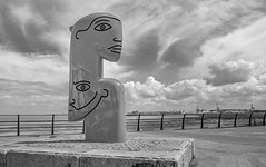 Portishead Skies (tramsteer) Tags: tramsteer statue clouds sky cumulus portishead avonmouth somerset fence artwork