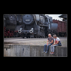 The Only Difference Between Men and Boys Is The Size Of Their Toys (KoenK68) Tags: men steam engine loco locomotives talking conversation old oldtimers transport nostalgia canon ©koenk68