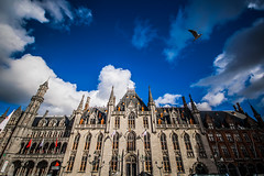 Soar (Melissa Maples) Tags: brugge bruges belgique belgië belgium europe nikon d3300 ニコン 尼康 sigma hsm 1020mm f456 1020mmf456 winter markt marketsquare placedebruges building bird clouds sky blue