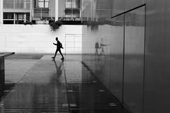 Back to the wall (pascalcolin1) Tags: paris13 bnf homme man mur wall pluie rain reflets reflection photoderue streetview urbanarte noiretblanc blackandwhite photopascalcolin 50mm canon50mm canon
