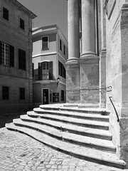 Six steps to Heaven (Johnners61) Tags: menorca spain europe balearicislands balearics ciutadella cathedral steps leadinglines old historic bw mono blackandwhite light shade street alley oldtown town city microfourthirds micro four thirds mft m43 olympuspen olympus pen ep5 columns
