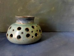 Ceramic Pot. (jenichesney57) Tags: pot holes minimal ble pottery decoration panasoniclumix shadow simple background canvas light