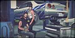 fl_180603 (Rocket.B) Tags: motorheadz cafe secondlife highlevel virtual garage skyline gtr r34 car jdm sportscars nissan artsstyle