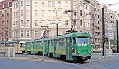 MVB Magdeburg: Unidentified 3-car T4D set crossing Hasselbachplatz, route 10 (Mega Anorak) Tags: tram tramcar trolleycar streetcar strassenbahn magdeburg mvb ckd t4d hasselbachplatz