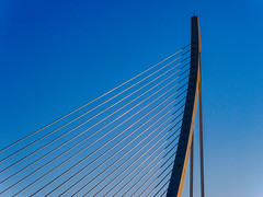 Harp as bridge (Adaptabilly) Tags: shadow spain bridge valència santiagocalatrava ciudaddelasartesylasciencias sky architecture cityofartandscience lumixgx7 travel abstract europe