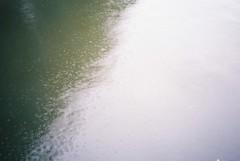 Rain on the Harbour, from Pero's Bridge (knautia) Tags: rain raining commute commuting bristol england uk may 2018 film ishootfilm olympus xa2 fuji superia 400iso olympusxa2 nxa2roll22 bridge footbridge perosbridge floatingharbour harbour docks