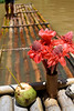 Flowas An Coconut Wata (Poocher7) Tags: jamaica westindies caribbean water river thegreatriver bamboo raft bambooraft tourguide relaxation fun gingerflowers coconut bamboostraw