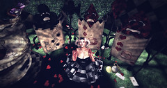 Time is running out and Alice is going mad! (Torrie' Fookernut) Tags: alice wonderland goth gothic fair angelicdesign sweetmeats serendipity cards lunacy clubs spades blood the darkness chamber shape color dark pocket watch hearts diamonds mad looking glass second life sl avatar