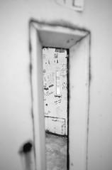 Back door (Koen Bazelmans) Tags: monochrome blackandwhite bw dof sharp unsharp door lookthrough nikon d700 zeiss frame composition bokeh abstract 3d effect viewpoint manualfocus layers distagont2821 21mm perspective