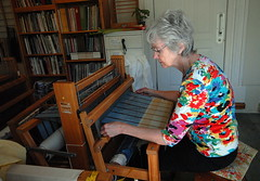 weaver (chasdobie) Tags: weaver loom fabric art artist craft weaving mcdonaldscorners lanarkcounty ontario canada portrait woman nikon indoor
