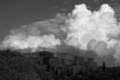 Clouds over Acropolis (Gianna Fou.) Tags: clouds bw 7fwf athens greece sky temple