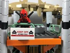 2018-153 - Keep Off (Steve Schar) Tags: 2018 wisconsin sunprairie iphone iphone6s project365 lego minifigure deadpool batcave keepoff atomicpile warning sign