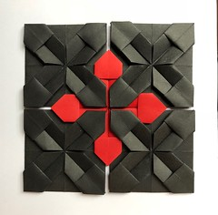 More origami (anuradhadeacon-varma) Tags: modularorigami greetingscard paperfolding blackandred origami