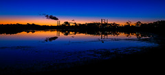Queensland Alumina approaching Dawn (cantdoworse) Tags: qal refinery alumina dawn mud flats landscape canon 6d sunrise sky water sea
