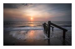 Feels Like Home (janinelee66) Tags: yorkshire coast sunrise colour sea sand groyne sky sunlight wood east travel