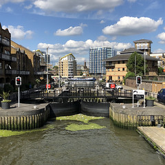 Limehouse Tidal Lock (Tom Willett) Tags: canal walk regentscanal iphone square limehouse canarywharf longboat boat towpath