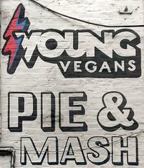 young vegans (n.a.) Tags: black white pink blue painted brickwork bricks camden town chalk farm lock market pie mash shop marco young vegans vegan