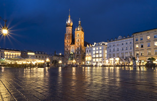 rainy blue hour in Kraków