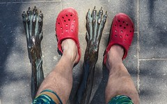 Red Crocs. (CWhatPhotos) Tags: cwhatphotos red crocs redcrocs sandals rubber feet paw pass paws statue photographs photograph pics pictures pic picture image images foto fotos photography artistic that have which contain olympus camera holiday holidays hols hol june 2018 ibizan ibiza
