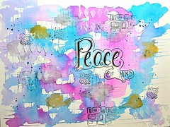 DSC_0001-PeaceofMind-Main (Just4Crafters) Tags: blue pink purple gold black watercolor painting mixed media texture art journal stamping creative fun whimsical whimsy