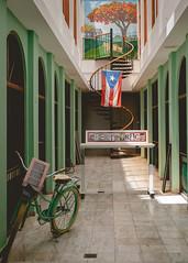 Letter Art (ep_jhu) Tags: oldsanjuan x100f bicycle flag bicicleta courtyard staircase pr fujifilm stairs tiles flamboyán bandera arches escaleras fuji bike spiral sanjuan letters art puertorico