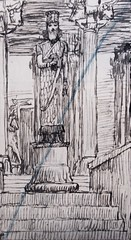 386.1/402 The statue of Nebuchadnezzar (Daniel 2:31) drawing by James Tissot at the John Rylands Library file created by Phillip Medhurst (Phillip Medhurst) Tags: tissot jamestissot bible oldtestament jewishmuseumnewyork johnrylandslibrary daniel bookofdaniel phillipmedhurst statue nebuchadnezzar jacquesjosephtissot bibleillustration