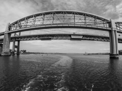 G0032848-2 (Marklucylockett) Tags: tamarbridge brunelbridge rivertamar devon cornwall 2018 june marklucylockett boats blackandwhite gopro goprohero3 plymouth saltash bridge