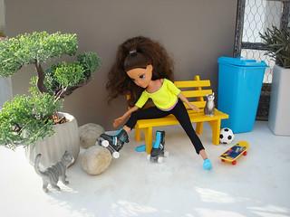 Moxie preparing for roller skating