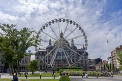 Ferris wheel in front of Antwerp Central Station, Belgium (Ingunn Eriksen) Tags: ferriswheel antwerpen antwerp antwerpcentralstation trainstation antwerpencentraal nikond750 nikon