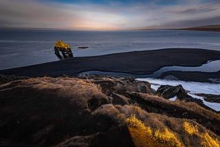 Hvitserk Iceland at sunset