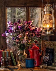 One Summer's Evening (memoryweaver) Tags: pot coffeepot mugs enamel canon sigma 50mm digitalcomposite fantasy logcabin woods cabin sunsets aguiliga tabletop window memoryweaver stilllife summer