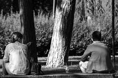 Un momento di discussione? A moment of discussion? (giannizigante) Tags: bologna giardinimargherita bianconero colore