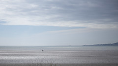 lonely cyclist (Wendy:) Tags: cyclist bicycle dublinbay low tide sand sea horizon