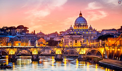 St. Peter's Basilica, Rome (Travel Center UK) Tags: rome italy vatican papalbasilica stpetersbasilica church architecture europe christianity tourists pilgrims yellow ancient dome dusk basilica bridge cathedral monument outdoor sanpietro twilight river rivertiber tiber evening sky clouds reflection lights landscapephoto travelcenteruk travelcenter travelphotography