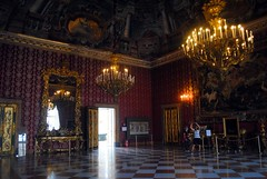 Palazzo Reale - First Anteroom (zawtowers) Tags: naples napoli campania italy italia may 2018 summer holiday vacation break warm dry sunny palazzo reale royal palace baroque architecture built 17th century used bourbon kings residence first anteroom large polished floor chandelier red wall room