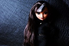 Leather And Lace (jessandgrace) Tags: doll portrait colorimage colors black darkbackground leather guitarcase figure face eyes grayeyed hair brunette dress lace crochet handmade dollclothes cerise everafterhigh eah pretty beauty glamour cute indoor